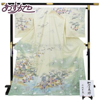 ◆ This Kaga Yuzen ◆ shirasaka Kozo made tea flower wagon, Tsuji Beach crepe occasions hm1761
