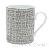 《未使用》HERMESエルメスマグカップモザイクシルバー/ホワイトコーヒーカップ【未使用】