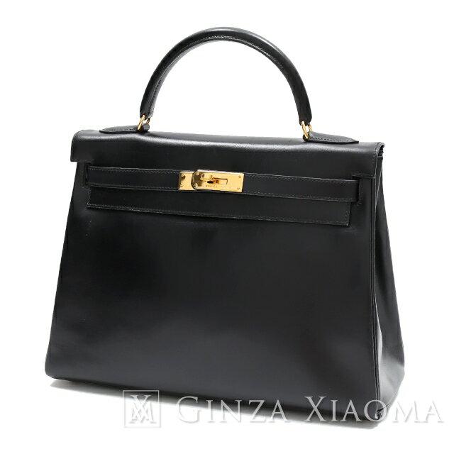 HERMES エルメス ケリー32 ボックスカーフ ブラック 黒 ゴールド金具 □A刻印 内縫い ストラップなし ハンドバッグ 【中古】