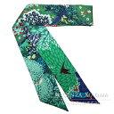 HERMES エルメス ツイリー スカーフ シルク Dans Un Jardin Anglais [英国式庭園にて] マリン×グリーン×ルージュ 森 鹿 小鳥 ...