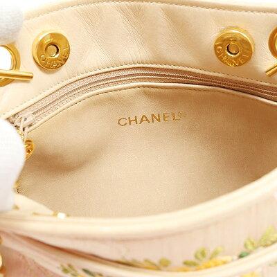 CHANELシャネルチェーンショルダーバッグサテン刺繍ベージュヴィンテージショルダーバッグ【中古】