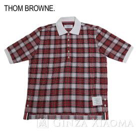 【ポイント3倍】【未使用】THOM BROWNE トムブラウン トップス 半袖 ポロシャツ チェック柄 コットン レッド 赤 メンズ 夏 中古