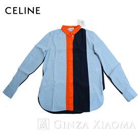 【ポイント3倍】【未使用】CELINE セリーヌ トップス シャツ アセテート シルク ブルー オレンジ 中古