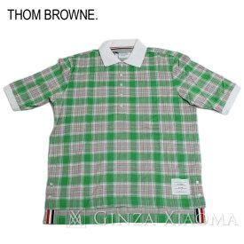 【ポイント3倍】【未使用】Thom Browne トムブラウン トップス 半袖 ポロシャツ コットン グリーン 緑 サイズ3 メンズ 夏