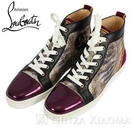 【未使用】Christian Louboutin ルブタン 靴 スニーカー サイズ40.5 ハイカット ゴールド パープル メンズ 紫 金 黒 ブラック 中古