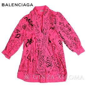 【ポイント3倍】【美品】バレンシアガ ブラウス ボウタイ付きシャツ トップス ロゴ