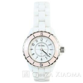 【美品】CHANEL シャネル J12 ソフトピンク ホワイト セラミック ステンレススチール 腕時計 レディース 世界1200本限定 クオーツ