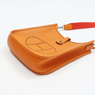 【未使用】HERMESエルメスエブリンTPMトリヨンオレンジシルバー金具X刻印ショルダーバッグ