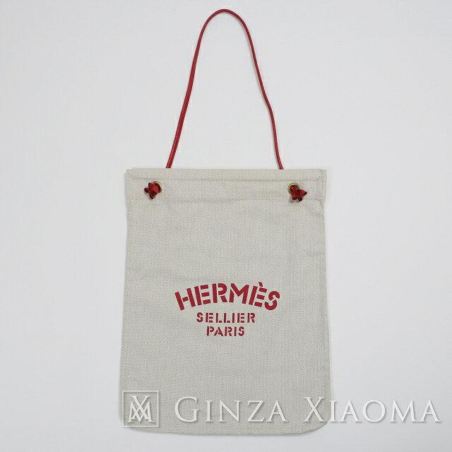 【中古】 HERMES エルメス アリーヌGM キャンバス/レザー ベージュ×レッド トートバッグ mns