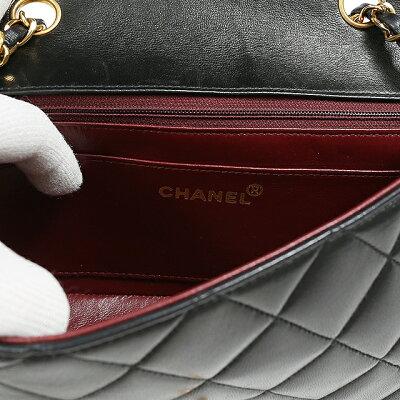 【中古】CHANELシャネルマトラッセチェーンショルダーバッグラムスキンブラックショルダーバッグ