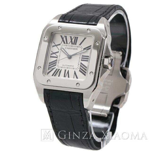 【中古】 Cartier カルティエ サントス100 LM SS×レザー AT W20076X8 メンズ 腕時計 mns