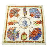 【中古】HERMESエルメスカレ90[CUIRSDUDESERT砂漠の革飾り]ホワイト系スカーフ