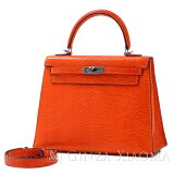 【中古】HERMESエルメスケリー25リザードオレンジシルバー金具K刻印外縫いハンドバッグ