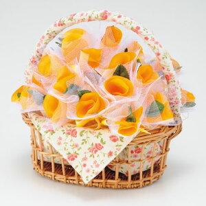 プチギフト 結婚式 雑貨 バスケット付縁起物 ウェディング二次会 披露宴 サンクスギフト【ほの花のバニエ 耳かき オレンジ50個セット】【送料無料】