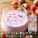 【包材ゴミ削減のためリニューアル】フリーズドライデザート牛乳でつくる飲むデザートザク切りいちご10食 いちごミル…