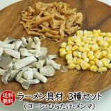 カップラーメン・自宅ラーメンにラーメン具材3種セット(コーン・ひらたけ・メンマ)