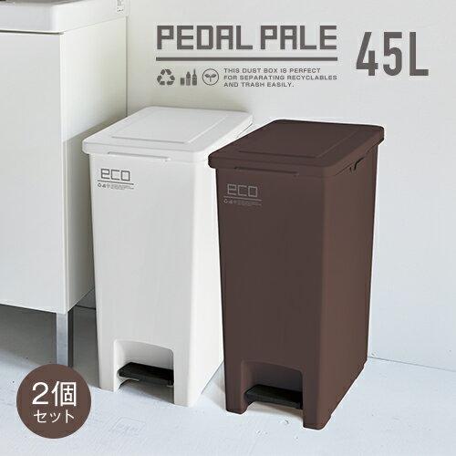 ゴミ箱 ごみ箱 エバン ペダル 45L SD スリム 【 2個セット 】【 ゴミ箱 おしゃれ 45リットル スリム ペダル 縦型 キッチン 分別 新生活 アスベル ASVEL 】