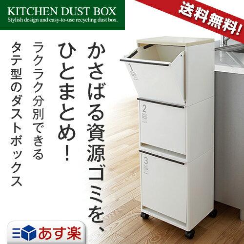 ゴミ箱 ごみ箱 資源ゴミ 分別ワゴン 3段 ワイド 43L キャスター付