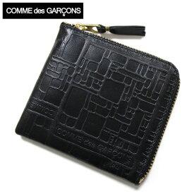 コムデギャルソン 財布 COMME des GARCONS コインケース ファスナー メンズ レディース ブランド 黒 L字型ジップ財布 エンボス SA3100EL ブラック