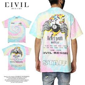 シヴィル レジーム CIVIL REGIME Tシャツ 半袖Tシャツ 綿100% バックプリント メンズ レディース ブランド 大きいサイズ 8 BALL TEE PASTEL SPIRAL 20CV-SP07T かっこいい お洒落 マルチ M L XL