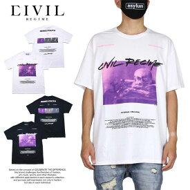 シヴィル レジーム CIVIL REGIME Tシャツ 半袖Tシャツ 綿100% バックプリント おしゃれ メンズ レディース ブランド 大きいサイズ ETERNAL OBLIVION TEE 20CV-SP13T ホワイト ブラック M L XL XXL