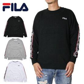 【衝撃の20%OFFクーポン配布中】FILA フィラ トレーナー スウェット メンズ レディース オーバーサイズ 長袖 ロゴテープトレーナー FH7613 大きいサイズ おしゃれ かっこいい ブラック グレー ホワイト M L XL XXL