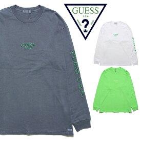 GUESS GREEN LABEL ゲス グリーンレーベル GUESS USA LIME LS TEE GRSS19-009 メンズ レディース 秋冬 ロンT ブラック ホワイト グリーン