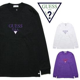 GUESS GREEN LABEL ゲス グリーンレーベル GUESS USA LS TEE GRSS19-026 メンズ レディース 秋冬 ロンT ブラック ホワイト パープル
