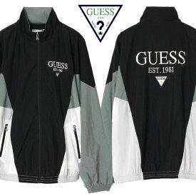 ゲス グリーンレーベル GUESS GREEN LABEL ジャケット ナイロンジャケット メンズ レディース 大きいサイズ Nylon Track Jacket GRFW19-033 ブラック×グレー M L XL