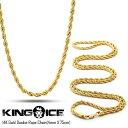 【3/31(金)まで!クーポンで20%OFF!】キングアイス 14Kゴールド コーティング ロープ チェーン ネックレス KING ICE 14K GOLD D...