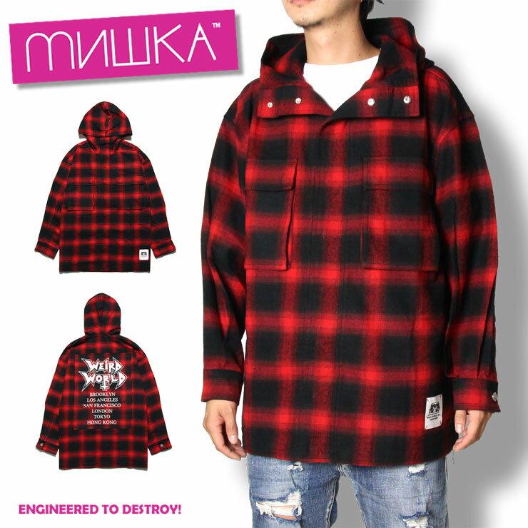 【SALE15%OFF】ミシカ MISHKA INFERNO PRAID JACKET MAW180504 メンズ レディース 秋冬 ジャケット パーカー ブラック レッド チェック M L XL