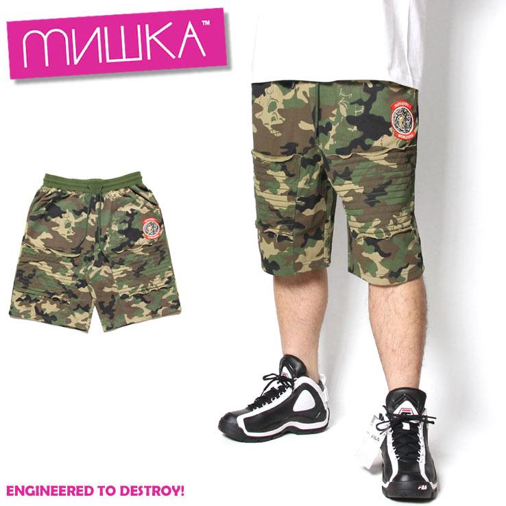 ミシカ スウェットパンツ ショーツ MISHKA CAMO SHORTS MSS180833/メンズ/レディース/ユニセックス/カジュアル/パンク/ヒップホップ/HIP HOP/B系/B系 ファッション/ストリート/メンズファッション/春夏/カモ柄/M/L/XL