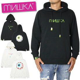 MISHKA ミシカ プルオーバーパーカー HOOD MAW190402 ネオン プリント パイル地 ラバー ブラック ホワイト M L XL
