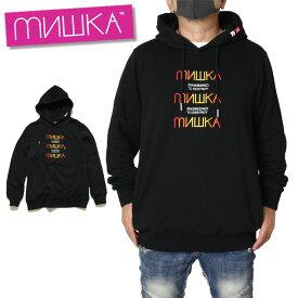 ミシカ MISHKA パーカー プルオーバーパーカー フーディ HOOD MAW190438 大きいサイズ おしゃれ かっこいい ブラック M L XL