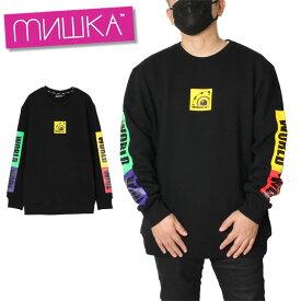 ミシカ MISHKA スウェット トレーナー 裏起毛 メンズ レディース 大きいサイズ CREW MAW190475 ブラック M L XL