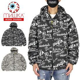 ミシカ ジャケット MISHKA ダウンジャケット アウター 防寒 総柄 メンズ レディース ブランド 大きいサイズ おしゃれ おすすめ 人気 黒 DOWN JACKET M61000712 ブラック グレー M L