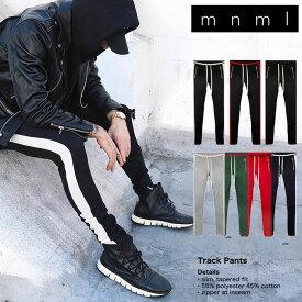 【SALE】mnmlトラックパンツ スキニー mnml ミニマル TRACK PANTS ラインパンツ メンズ レディース ダンス 裾ジップデニム かっこいい お洒落 S M L XL
