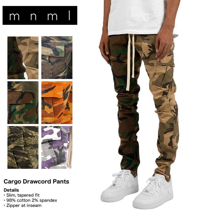 【お得クーポン大量配布中】mnml ミニマル CARGO DRAWCORD PANTS CAMO メンズ レディース 夏秋冬 カーゴパンツ カモ オレンジカモ パープルカモ XS S M L XL