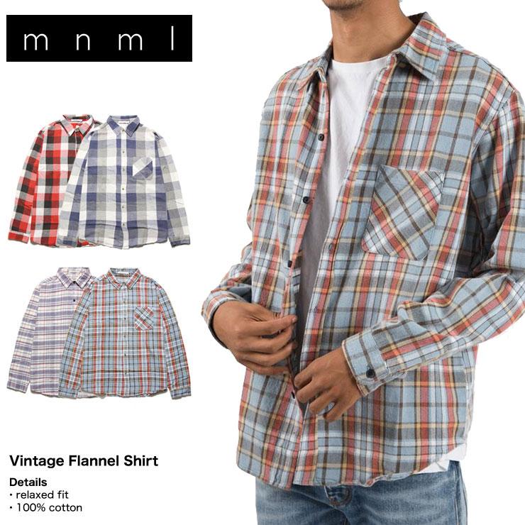 mnml ミニマル チェックシャツ ネルシャツ ヴィンテージ VINTAGE FLANNEL SHIRT 18ML-AW747 メンズ レディース 長袖シャツ ストリート系メンズファッション M L XL