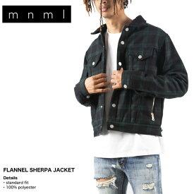 mnml ミニマル ジャケット アウター ボア Gジャン メンズ レディース ブランド 大きいサイズ FLANNEL SHERPA JACKET Blue/Green 19ML-AW626Z お洒落 かっこいい グリーンチェック S M L XL XXL