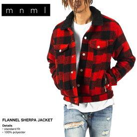 mnml ミニマル ジャケット アウター ボア Gジャン メンズ レディース ブランド 大きいサイズ FLANNEL SHERPA JACKET black/red 19ML-AW626Z お洒落 かっこいい レッドチェック S M L XL XXL