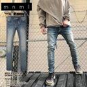 mnml ミニマル M34 STRETCH DENIM BLUE メンズ レディース 春夏秋冬 クラッシュデニム...