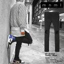mnml ストレッチ 裾ZIPジップ ダメージクラッシュジーンズ mnml M1 STRETCH DENIM BLACK/ミニマル デニム/クラッシュデニムパンツ/スキニー/スリムフィット/B系/スト