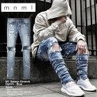 mnmlストレッチ裾ZIPジップダメージクラッシュジーンズmnmlM1SPLASHSTRETCHDENIMBLUE/ミニマルデニム/クラッシュデニムパンツ/スキニー/スリムフィット/B系/ストリート系メンズファッション