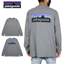 パタゴニア 長袖Tシャツ PATAGONIA Tシャツ ロンT アウトドア かっこいい おしゃれ メンズ レディース ブランド 大きいサイズ M's LONG-SLEEVED P-6 LOGO RESPONSIBILI-TEE 38518 ヘザーグレー S M L XL XXL