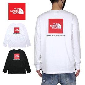 ノースフェイス ロンT THE NORTH FACE 長袖Tシャツ ボックスロゴ メンズ レディース アウトドア ブランド バックプリント ロゴ 綿100% 大きいサイズ かっこいい L/S RED BOX TEE NF0A493L ホワイト ブラック S M L XL XXL