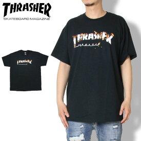 【SUMMER SALE 20%OFF】THRASHER スラッシャー Tシャツ INTRO BURNER S/S TEE 311210 メンズ レディース ストリート スケボー 春夏 Tシャツ ブラック M/L/XL