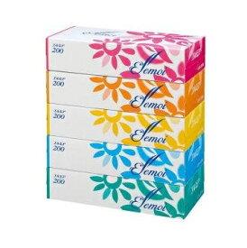 【週替わり特価E 6/25-】カミ商事 エルモア ティシュー 400枚 ( 200組 ) ×5個入りパック(ティッシュペーパーボックス) ( 4971633002807 )※お一人様最大1点限り