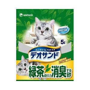 ユニ・チャームペットケアデオサンド緑茶成分入り消臭する砂5L(4520699651773)
