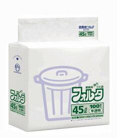 【送料込・まとめ買い×5】【日本サニパック】業務用ポリ袋 45L 100枚×5パック F-4H 白半透明 0.030mm (ケース販売 ゴミ袋)(4902393206440)